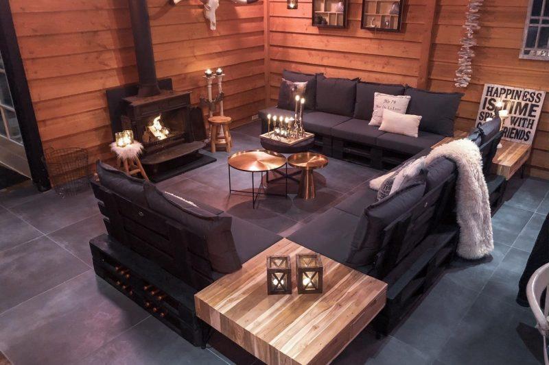 Zwarte pallet loungeset